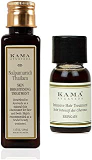 Kama Ayurveda Nalpamaradi Skin Brightening Treatment 100ml, Bringadi Intensive Hair Treatment 8ml Combo