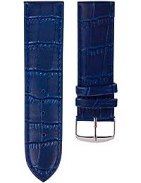 Fulltime– Correa de reloj de Alta calidad, de cuero, con hebilla de acero, hombre, azul marino