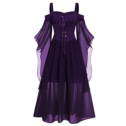 Xuthuly Frauen Fashion Classic Vintage Sexy Weg Von Der Schulter Plus Größe Gothic Langes Kleid Halloween Party Kleid Elegante Farbe Patchwork Schmetterlingshülse Lace Up Maxi Kleid