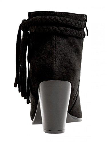 Damen Vintage Fransen Stiefelette SBO063 Schwarz