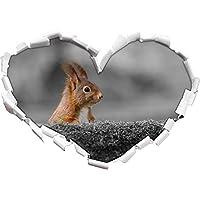 scoiattoli divertenti dietro tronco d'albero nero / a forma di cuore bianco in formato sguardo, parete o adesivo porta 3D: 92x64.5cm, autoadesivi della parete, decalcomanie della parete, Wanddekoratio