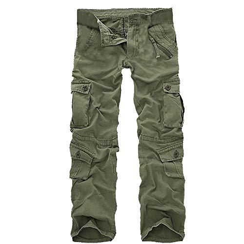 SANFASHION Herren Männer Mode Baumwolle Outdoors Arbeit Hosen,Cargo Outdoorhose,Multi-Pocket Lange Casual Lose Pants -