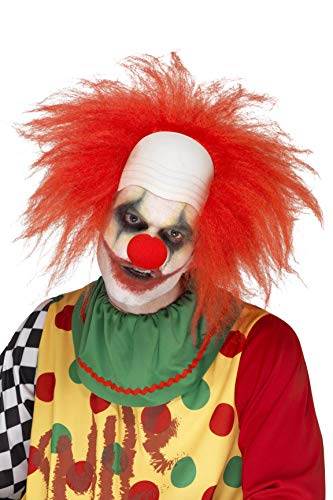 Smiffys Herren Clown Perücke, Glatzkopf, One Size, Rot, - Glatzkopf Kostüm Perücke