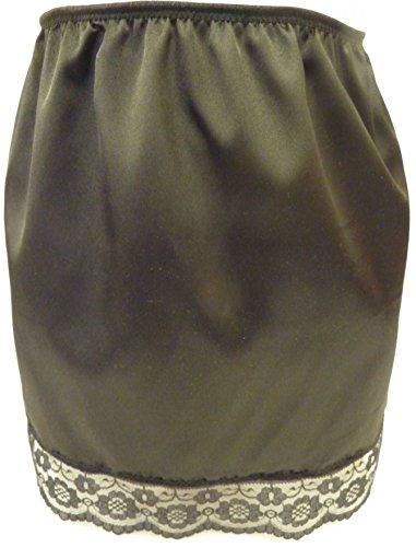 Schwarz Reine Seide Satin und schwarzer Spitze Hälfte Slip Länge 38,1cm Größen XS bis L Gr. M fits Hüftes 91.44 cm/96.52 cm, BLACK PURE SILK BLACK LACE TRIM (Lace-slip-hälfte Slip)