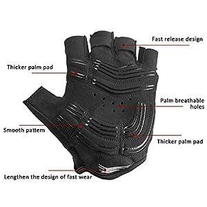 I Kua Fly Guantes de Ciclismo, Guantes MTB con Dedos Medios para Hombre (Negro, L)