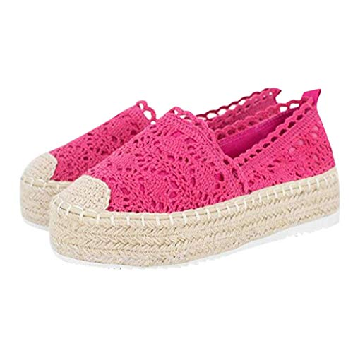 COZOCO Women's Hollow Platform Casual Shoes Solid Color Breathable Wedge Espadrilles Cover Heel Shoes(A-Hot Pink,38 EU)