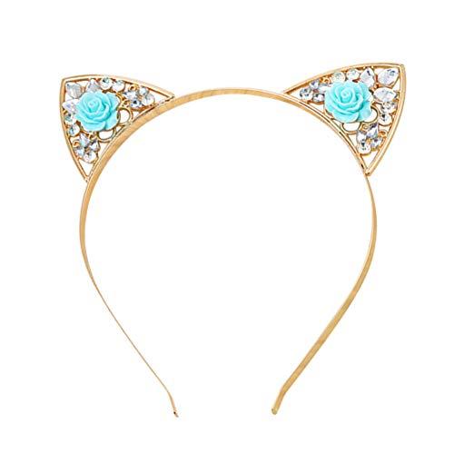 Lurrose Nette Katzenohren Stirnband Strass Rose Katzen Crown Haarband Stirnband für Party Kostüm Gefälligkeiten Foto Requisiten (Blau)