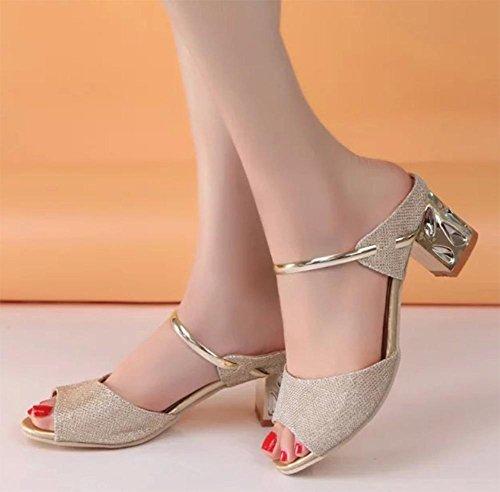 Fischkopf Frauen Sandalen mit dicken Sandalen und Pantoffeln mit Sandalen im Sommer Sandalen Wort Schuhe ziehen Gold