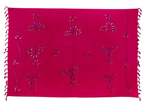 Sarong ca. 170cm x 110cm Handbemalt inkl. Sarongschnalle im Schmetterling Design - Viele exotische Farben und Muster zur Auswahl - Pareo Dhoti Lunghi Blumen Pink