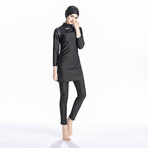 ziyimaoyi konservative Muslimische Bademode Islamischer Badeanzug Frauen Hijab Bademode volle Abdeckung Bademode Muslim SurfBeachwear Badeanzug, Schwarz, M