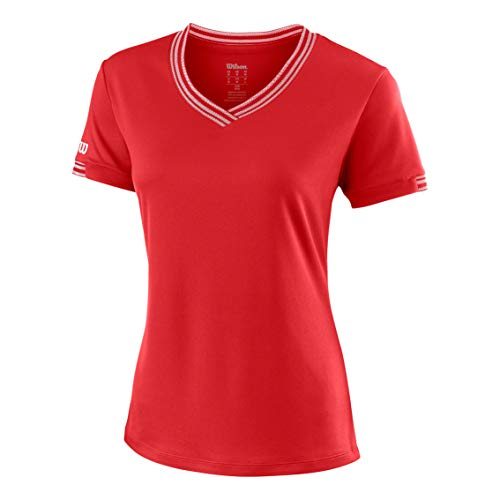 Wilson Damen Tennis-Kurzarmshirt mit V-Ausschnitt, W Team V-Neck, Polyester, Rot, Größe: M, WRA770005