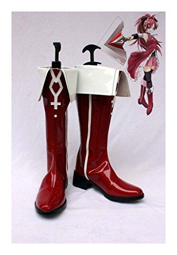 Puella Magi Madoka Magica Sakura Kyouko Stiefel Karneval Schuhe Sakura Kyouko Cosplay Boots Danmen Rot (Mami Cosplay Kostüm)