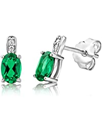 JQUEEN Women's 10.75ct Green Emerald Cut Emerald CZ 925 Sterling Silver Lever Back Earrings M2nsi5ku9