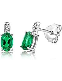 JQUEEN Women's 10.75ct Green Emerald Cut Emerald CZ 925 Sterling Silver Lever Back Earrings