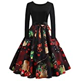Weihnachten Kleider Damen UFODB Frauen Weihnachtskleid Kleid Swing Taille Slim Cocktailkleid Retro Schwingen Party Partykleid Festlich Christmas Dress (M, Schwarz9)