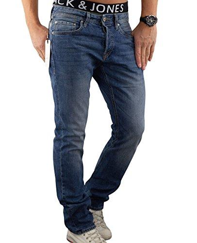 JACK & JONES Herren Jeans Hose jjiCLARK 101 Used Look Denim Regular Fit (34W / 32L, Blau (Blue Denim Fit:REG))