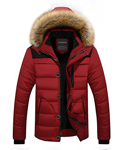 Menschwear Herren Winter Warme Jacke Daunenjacke Mantel Kurzmantel mit abnehmbarer Kapuze-Pelzkragenze Rot 6692