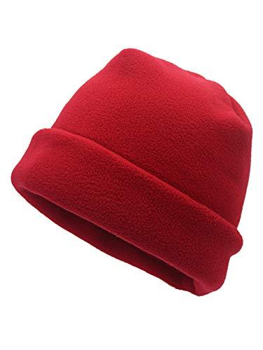 WANYING Unisex Polar Fleece Beanie Mütze für Herbst Winter Casual Outdoor Sports Skullcap Winddicht Warm und Weich Auskleidung für Helm - Rot - Winter-polar-fleece
