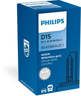 Philips 85415WHV2C1 D1S - Xenon WhiteVision gen2- Lampade per fari con effetto LED, luce bianca uniforme, 1pz.
