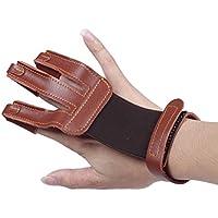 edealing Guantes de tiro con arco 3 Finger Handmade Leather Guard Shooting Finger Protector para arco compuesto (marrón)