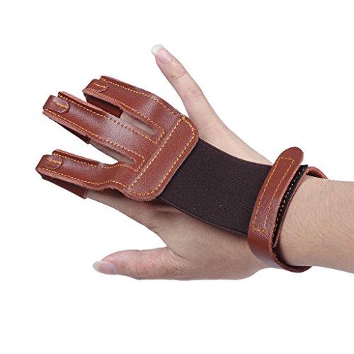 edealing Bogenschießen Handschuhe 3 Finger Handarbeit Leder Schutz Schießen Fingerschutz Für Compoundbogen (Braun) (Finger Leder)