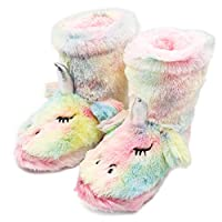 CHUANGLI Kids Girls Rainbow Unicorn Booties Slippers with Plush Lining Memory Foam Non-Slip Ankle Boots for Indoor/Outdoor