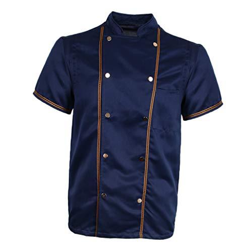 F Fityle Kurzarm Kochjacke Bäckerjacke Chef Jacke Restaurant Koch Arbeitskleidung Gastro Kochbekleidung für Männer Frauen - Schwarz, L - 9