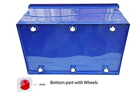 Nilkamal Plastic Stackable Storage Box with Wheels, 50 L, (Blue and Red)