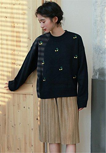 JOTHIN Letteratura e arte Pullover Ricamati College Maglieria Girocollo larghi Sweater vintage Basic Maglioni Donna Blu scuro