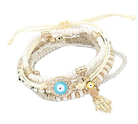 Crystal Beads Hamsa Hand Charm Bracelets & Wrap Beads Bracelets for Women Jewelry
