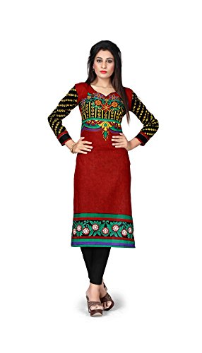 Nakoda Creation Women's Unstitched Cotton Multicolor Printed Kurti Fabric (Fabric only for...