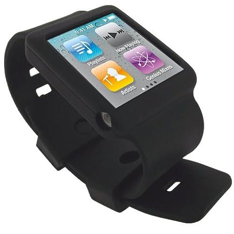 igadgitz Housse Etui Pochette Coque Case en Silicone de couleur Noir avec Bracelet pour Apple iPod Nano 6G 6ème Gen Génération 8 go gb & 16 go gb + protecteur d'écran