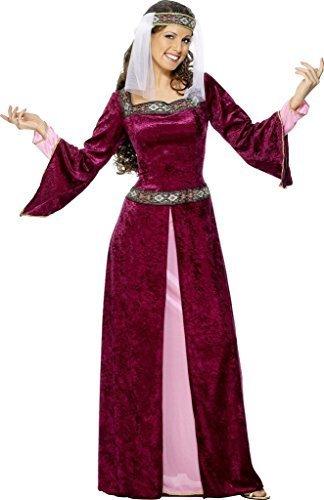 Old Kostüm Maid - Damen Maid Marion Burgund Mittelalter Kostüm Größe XL 20 bis 22