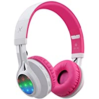 Riwbox WT-7S Bluetooth Headphones, LED Lingt Up Foldable Stereo wireless Headphones with Microphone and Volume Control for PC/iPhone/ TV/ iPad (Pink&White)
