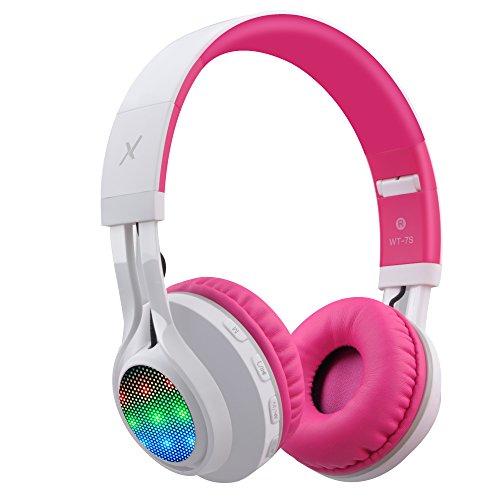 Riwbox WT-7S bluetooth - kopfhörer, führte lingt auf faltbaren stereo schnurlos - kopfhörer mit mikrofon und lautstärkeregelung für pc / iphone / ipad / tv (Pink Weiß)