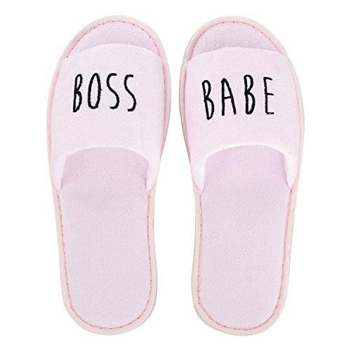 likalla Wellness-Slipper / Hotel-Slipper - offen - bestickt mit Statements GRL PWR, GIRL GANG, boss babe - schwarz, weiß, rosa - einzeln und 3 / 5 / 10 Paar im Set weiß/schwarz/rosa, je 1 Paar