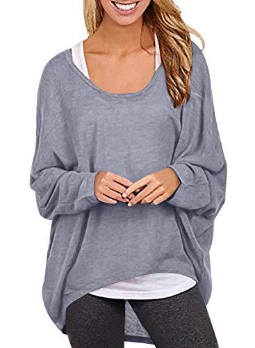 Yidarton Frauen Asymmetrisch Langarm Pullover Pulli Strickjacke Oversized Baggy Lose Jumper T-Shirt Tops Bluse (XL, Z-Hellgrau) -