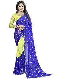 Vinayak Textiles Women's Chiffon Saree with Blouse Piece (Blue and Yellow, Free size)