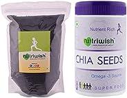 Nutriwish Premium Basil Seeds, 500g & Premium Raw Chia Seeds, 250g C