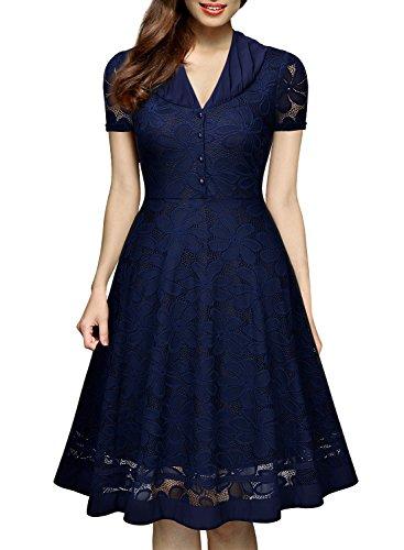 Miusol® Damen Elegant Abendkleid Vintage 1950er V-Ausschnitt Kurzarm Spitzen Kleid Party Cocktail Kleid Schwarz EU 36-46