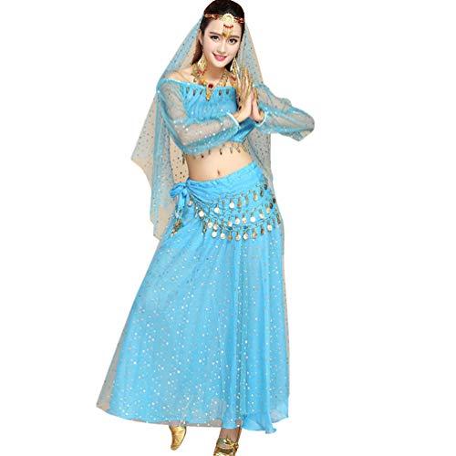 TianBin Tanzkostüm Bauchtanz-Kostüm Elegant Top und Pailletten Röcke mit Viel Zubehör für Damen (See Blau#4, One - Top Des Line Dance Kostüm