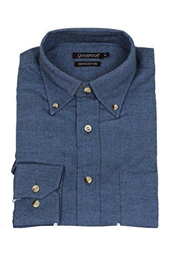 Uvaspina camicia in flanella tinta unita azzurra, xl-43/44