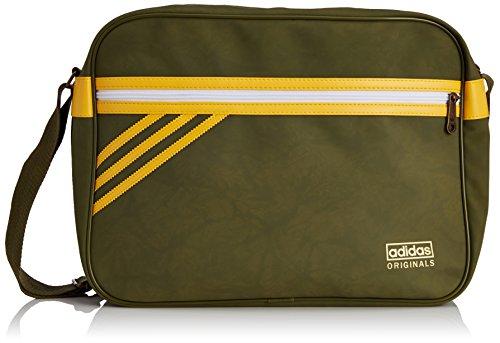 adidas Unisex Umhängetaschen Originals Airliner Suede, 12 x 38 x 28 cm, 13 Liter, Olive Cargo S15-St/Bold Gold, S20101 (Cargo Schwimmen)