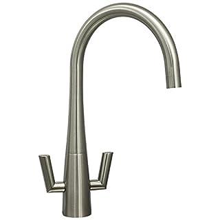 Astini Cosmopolitan Brushed Steel Twin Lever Kitchen Sink Mixer Tap HK66