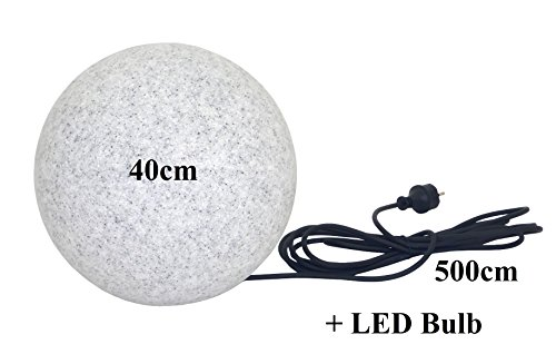 Gartenkugel in Granit-Optik 40cm Ø inkl.1x E27 4,5W LED LM & 5m Outdoorkabel IP65