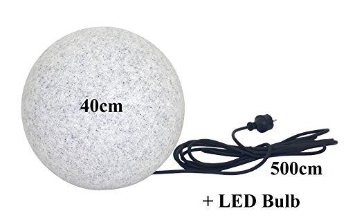 Trango IP65 Gartenkugel in Granit-Optik 40cm Ø inkl.1x E27 LED LM & 5m Outdoorkabel TG400GB