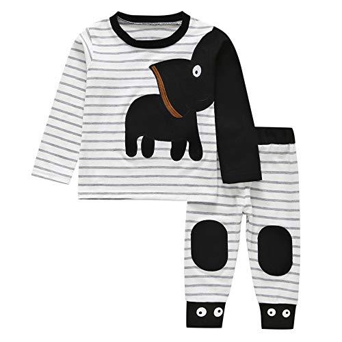 Kobay Babykleidung Jungen Winter Unisex Neugeborenes Baby Mädchen Elefant Gestreiftes T-Shirt Tops Set Casaul Kleidung(12-18M,Schwarz) (Neugeborenen Baby Elefanten Kostüm)
