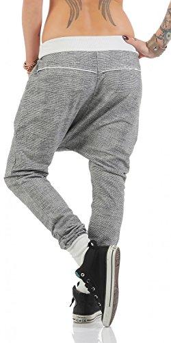 Damen freizeit Boyfriend Hose Jogginghose Sporthose (499) Weiß