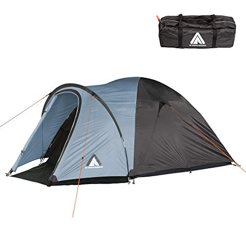 10T Outdoor Equipment Zelt Scone Arona 4 Mann Kuppelzelt wasserdichtes Campingzelt 5000mm Igluzelt mit Vorraum, Grau Blau V4, 4 Personen-295x250x135 cm