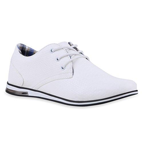 Modische Herren Business Schnürer Halb Sneakers Prints Leder-Optik Freizeit Schuhe 120052 Weiss 42 Flandell